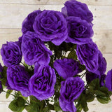 96 Artificial Giant Silk Open Roses Wedding Flower Vase Centerpiece Decor - Purple