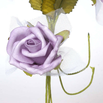 72 Beautiful Silk Roses Wedding Bouquet Vase Centerpiece Floral Decor  - Lavender