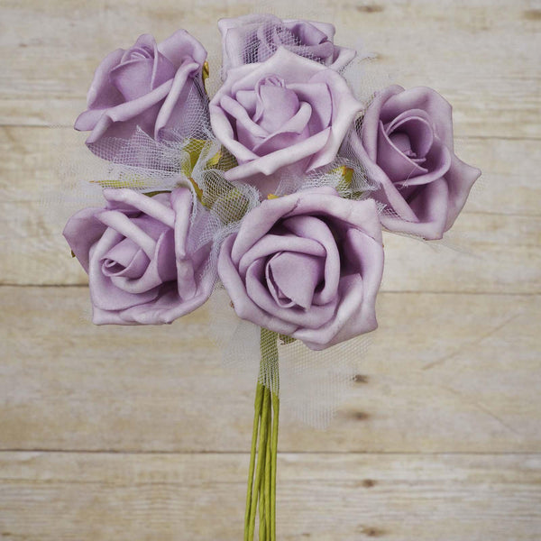 12 Pack 72 pcs Lavender Artificial Foam Rose Flowers