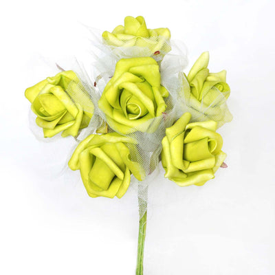 12 Pack 72 pcs Lime Green Artificial Foam Rose Flowers Wedding Bridal Bouquet