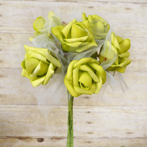 12 Pack | 72 Pcs | Lime Green Artificial Foam Rose Flowers