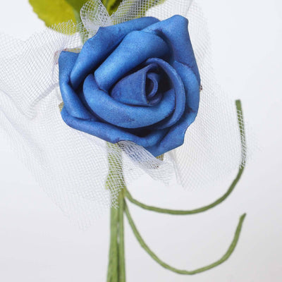 72 Beautiful Silk Roses Wedding Bouquet Vase Centerpiece Floral Decor  - Royal Blue