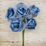 12 Pack | 72 Pcs | Turquoise | Artificial Foam Rose Flowers