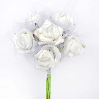 12 Pack 72 pcs White Artificial Foam Rose Flowers