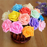 6 Pack 72 Pcs Fushia Artificial Foam Rose Flowers - Clearance SALE