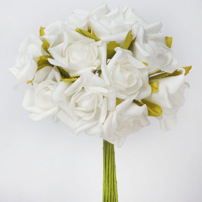 72 Artificial Silk Roses Bouquet Wedding Vase Centerpiece Decor -Cream