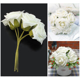 6 Pack 72 Pcs Cream Artificial Foam Rose Flowers