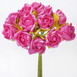 72 Artificial Silk Roses Bouquet Wedding Vase Centerpiece Decor -Fushia