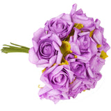 6 Pack 72 Pcs Lavender Artificial Foam Rose Flowers