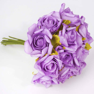72 Artificial Silk Roses Bouquet Wedding Vase Centerpiece Decor - Lavender