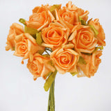 72 Artificial Silk Roses Bouquet Wedding Vase Centerpiece Decor- Orange