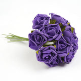 6 Pack 72 Pcs Purple Artificial Foam Rose Flowers - Clearance SALE