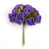 72 Artificial Silk Roses Bouquet Wedding Vase Centerpiece Decor - Purple