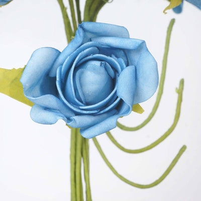 72 Artificial Silk Roses Bouquet Wedding Vase Centerpiece Decor - Turquoise