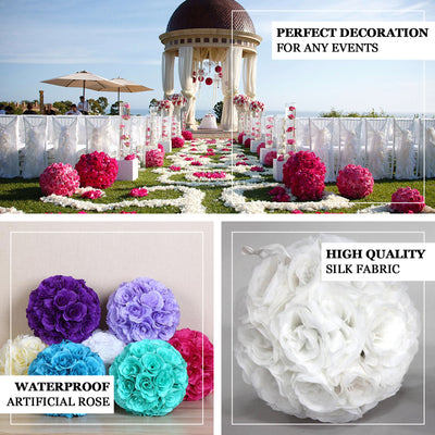 "2 Pack | 7"" Pink Flower Ball Silk Rose Pomander Kissing Ball"