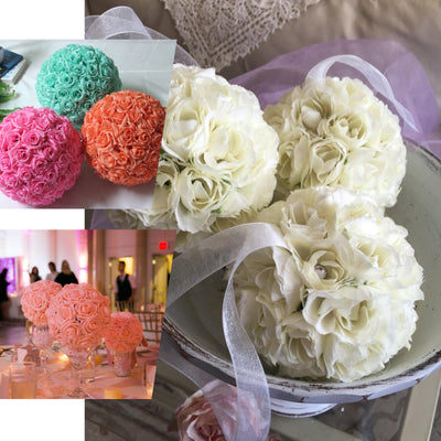 "2 Pack | 7"" Flower Ball Silk Rose Pomander Kissing Ball - Rose Gold 