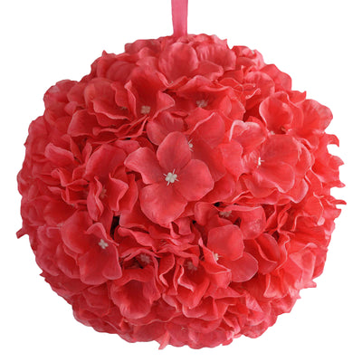 "4 Pack 7"" Coral Silk Hydrangea Kissing Flower Balls"