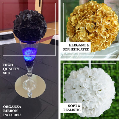"4 Pack 7"" Cream Silk Hydrangea Kissing Flower Balls"