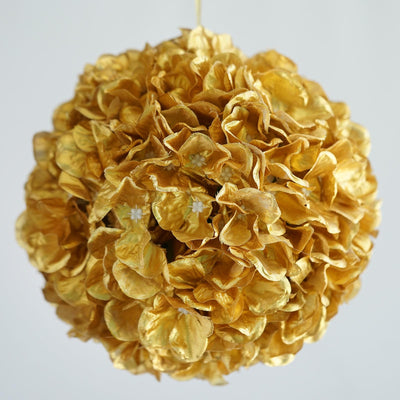 "4 Pack 7"" Gold Silk Hydrangea Kissing Flower Balls"