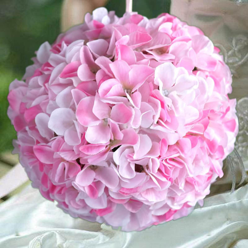 "7 Inches White Flower Ball: 4 Pack 7"" Pink Silk Hydrangea Kissing Flower Balls"