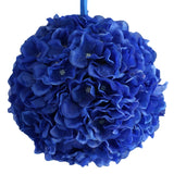 "4 Pack 7"" Royal Blue Silk Hydrangea Kissing Flower Balls#whtbkgd"