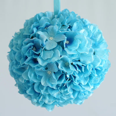 "4 Pack 7"" Turquoise Silk Kissing Flower Hydrangea Balls"