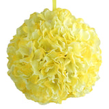 "4 Pack 7"" Yellow Silk Hydrangea Kissing Flower Balls"