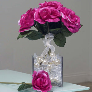 6 Artificial Open Roses Bouquet Wedding Vase Centerpiece Decor - Fushia