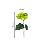 6 Bushes | 42 Pcs | Lime Green | Artificial Open Roses Flowers