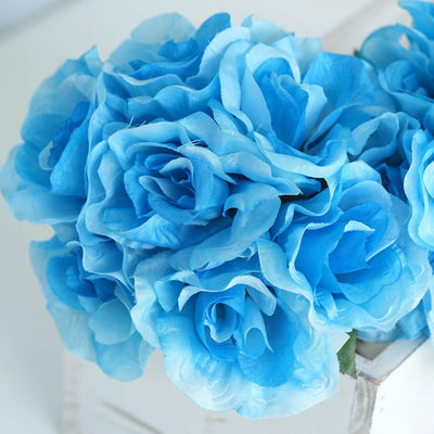 6 Bushes | 42 Pcs | Turquoise | Artificial Open Roses Flowers