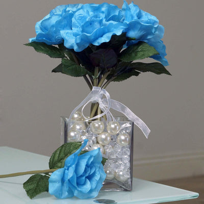 6 Artificial Open Roses Bouquet Wedding Vase Centerpiece Decor - Turquoise
