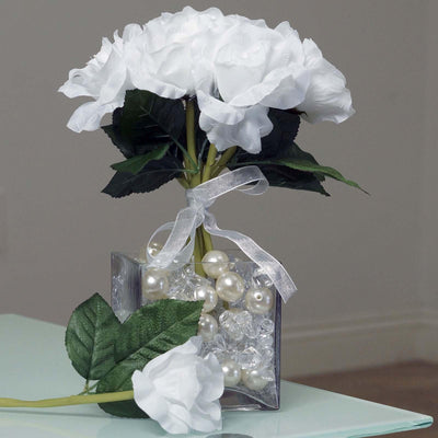 6 Artificial Open Roses Bouquet Wedding Vase Centerpiece Decor - White