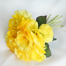 6 Bushes | 42 Pcs | Yellow | Artificial Open Roses Flowers