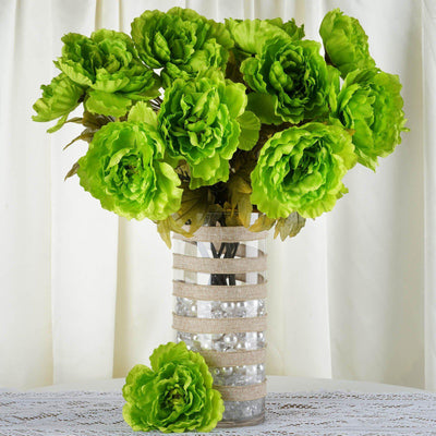 6 Bushes | 42 Pcs | Lime | Artificial Queen Peony Flowers