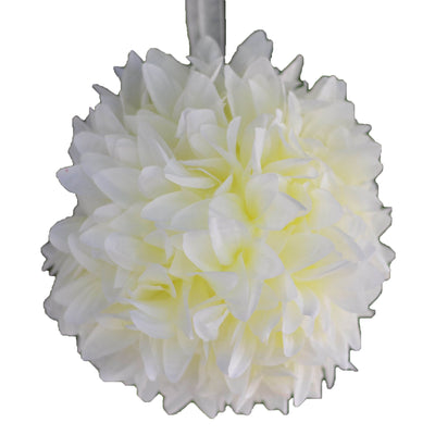 "4 Pack 7"" Cream Artificial Dahlia Flower Kissing Ball"
