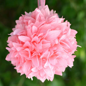 Pink Artificial Dahlia Kissing Flower Balls Wedding Hanging Decor - Buy 1 Get 3 Free