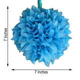 "4 Pack 7"" Turquoise Artificial Dahlia Flower Kissing Ball"
