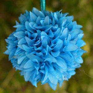 Turquoise Artificial Dahlia Kissing Flower Balls Wedding Hanging Decor - Buy 1 Get 3 Free