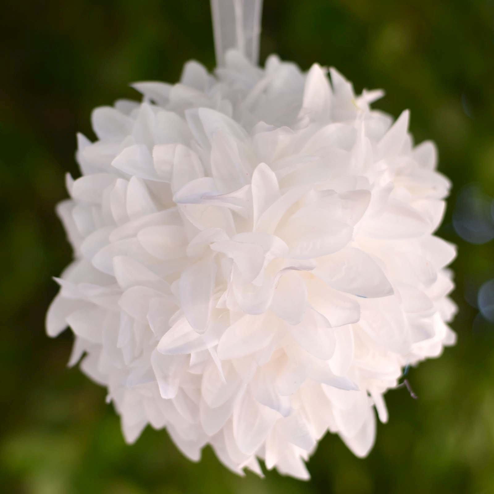 4 Pack 7 White Artificial Dahlia Flower Kissing Ball Wedding