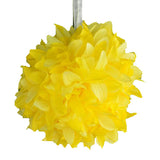 "4 Pack 7"" Yellow Artificial Dahlia Flower Kissing Ball"
