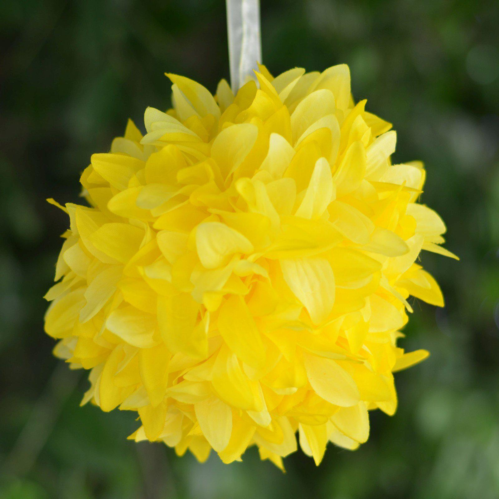 4 Pack 7 Yellow Artificial Dahlia Flower Kissing Ball Wedding