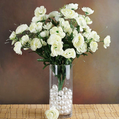 4 Bush 72 pcs Cream Artificial Buttercup Bulb Flowers