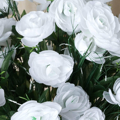 72 Artificial Buttercup Bulb Flowers Wedding Vase Centerpiece Decor -  White