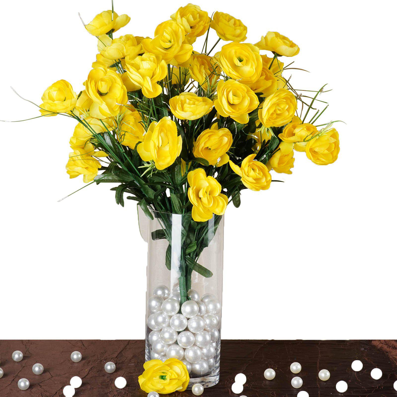 4 Bush 72 Pcs Yellow Artificial Buttercup Bulb Flowers Bridal