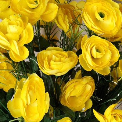 72 Artificial Buttercup Bulb Flowers Wedding Vase Centerpiece Decor -  Yellow
