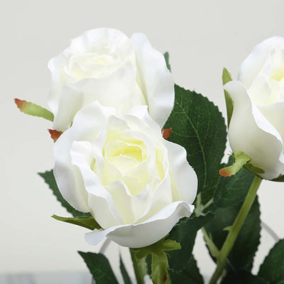 24 pcs Cream Artificial Long Stem Silk Rose Flowers With Green Leaves