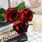 24 pcs Red/Black Artificial Long Stem Silk Rose Flowers With Green Leaves