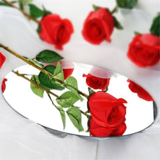 24 Artificial Long Stem Roses Wedding Bouquet Vase Centerpiece Floral Decoration - Red