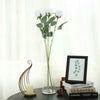 24 pcs White Artificial Long Stem Silk Rose Flowers With Green Leaves