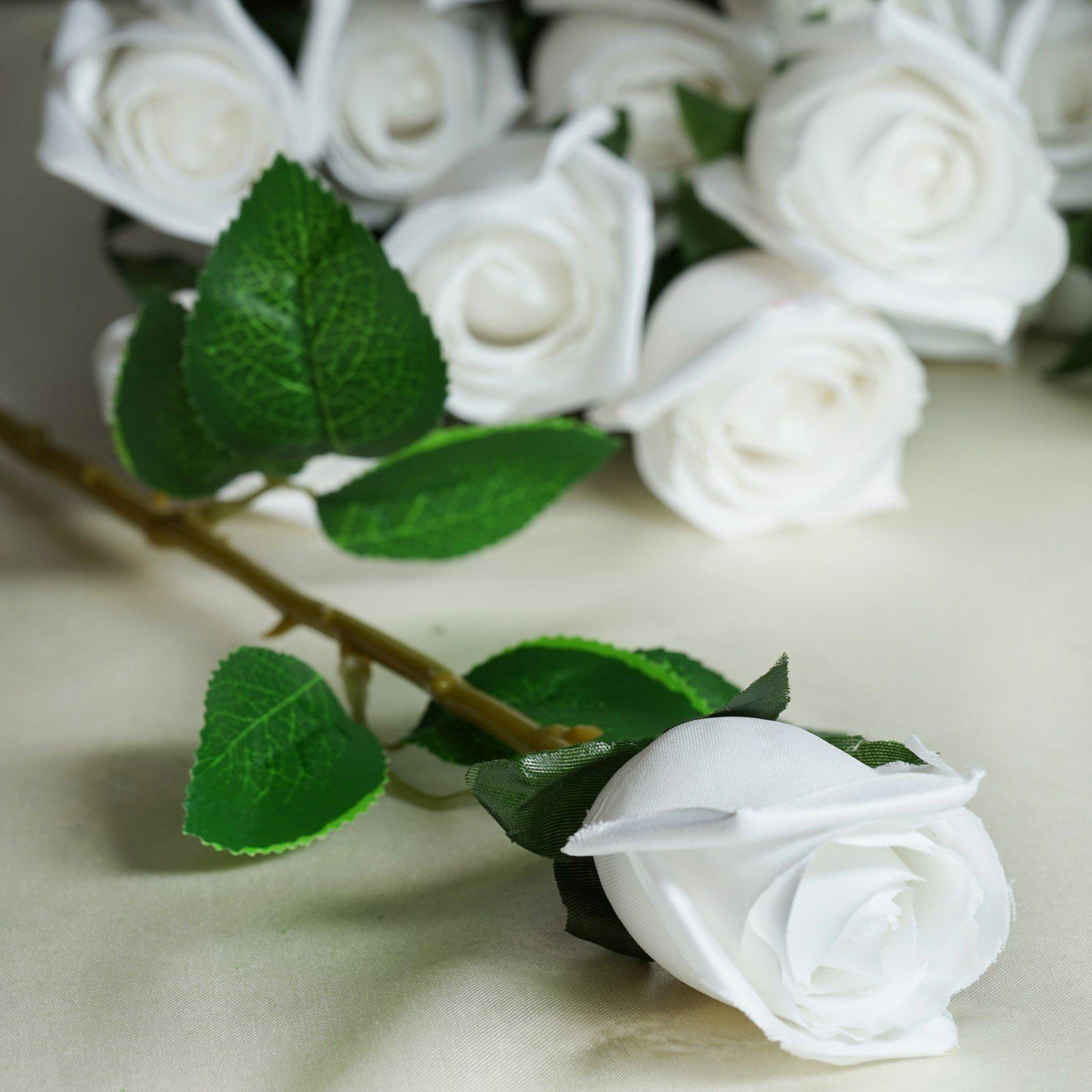 24 Pcs White Artificial Long Stem Silk Rose Flowers With Green